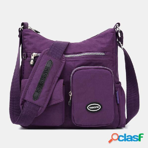 Mujer nylon gran capacidad impermeable hombro de viaje bolsa crossbody bolsa