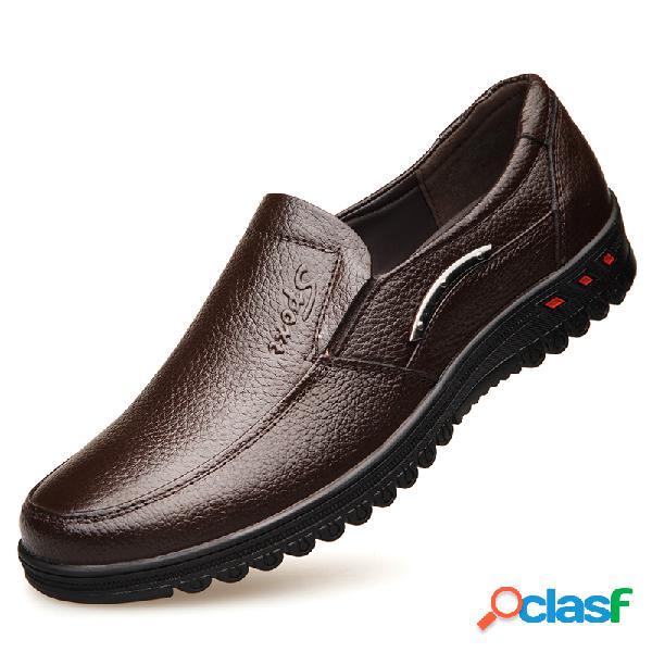 Hombres pure color slip antideslizante en zapatos de cuero casuales