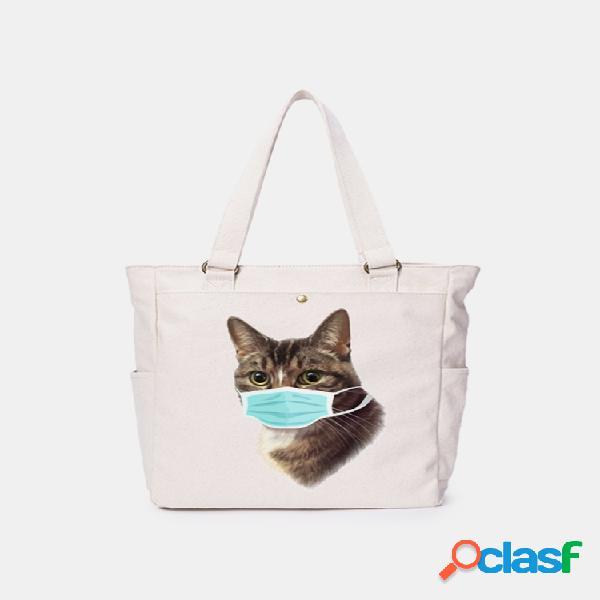 Mujer gato patrón mascara hombro casual de lona bolsa