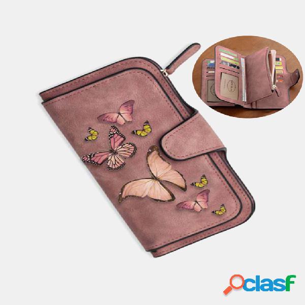 Mujer mariposa cartera con cuatro pliegues monedero 14 ranura para tarjetas 5.5 inch teléfono bolsa