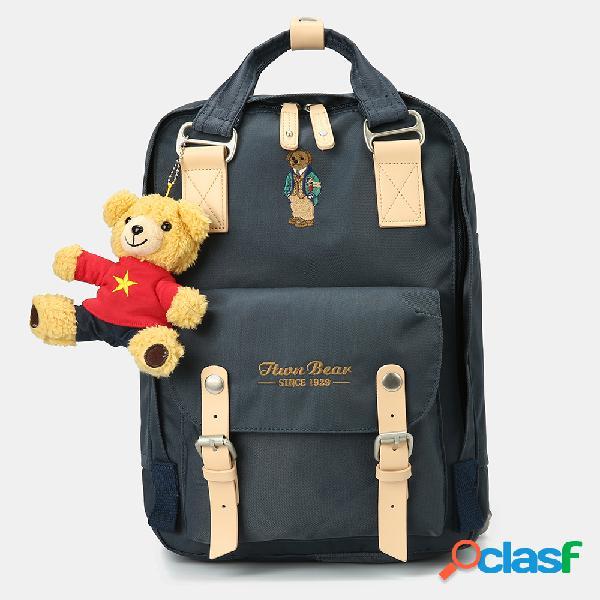 Mujer hombre oso mochila casual gran capacidad escuela bolsa