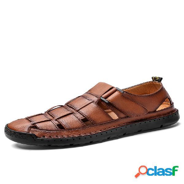 Hombres cosido a mano cuero antideslizante transpirable aro bucle casual sandalias