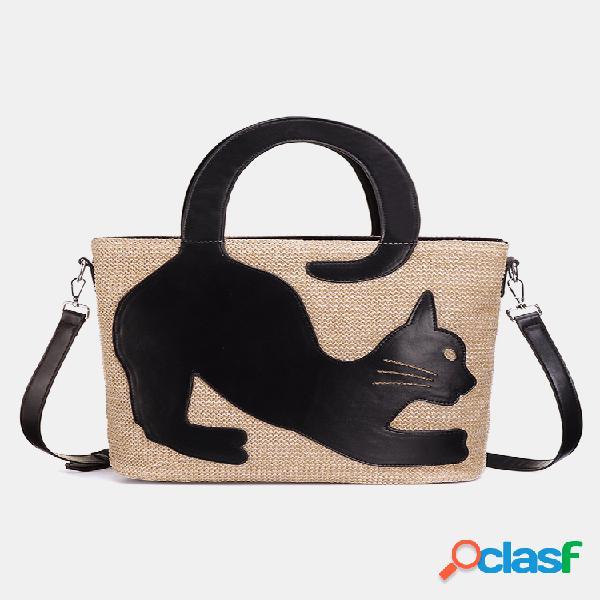 Mujer gato patrón bolso bandolera de paja bolsa