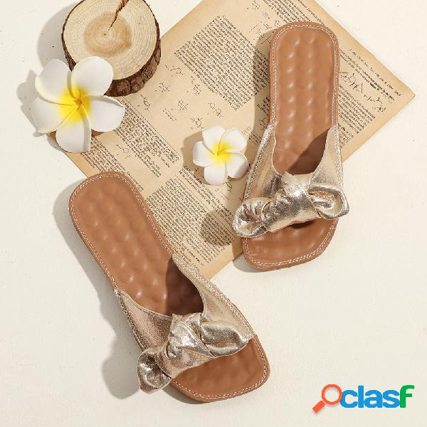 Mujer bownot soft pisos inferiores chic zapatillas