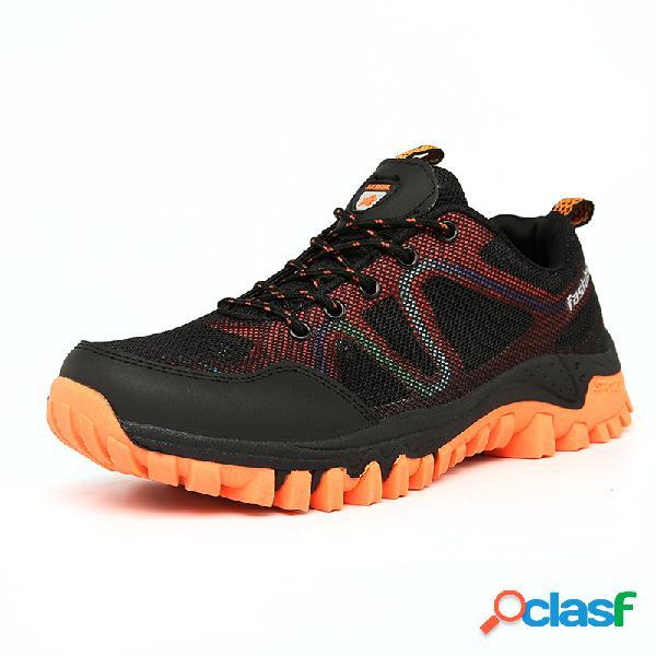Hombres malla transpirable al aire libre zapatos deportivos de cordones para senderismo