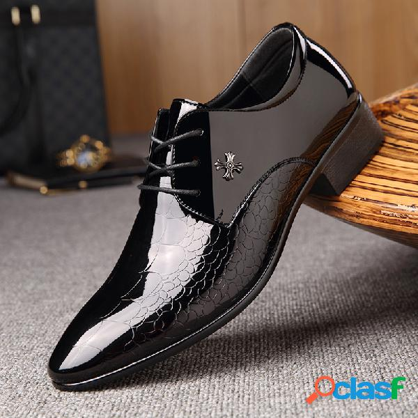 Hombres negocios microfibra cuero antideslizante casual formal vestido zapatos