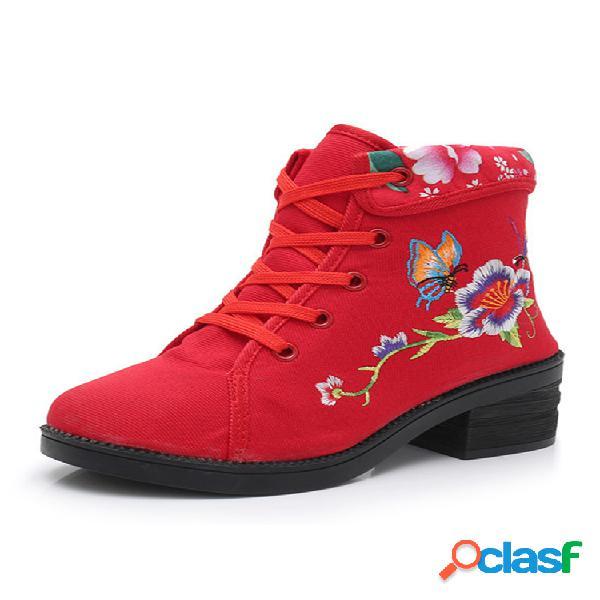 Mujer pantalón corto informal con cordones y suela blanda con bordado floral folkways botas