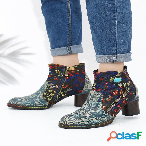 Socofy folkways flores bordado impresión cuero cremallera lateral tobillo antideslizante botas