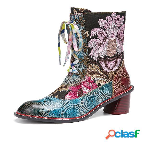 Socofy grace, bordado floral, cuero, empalme, cremallera lateral con forro cálido, colorful, con cordones a media pierna