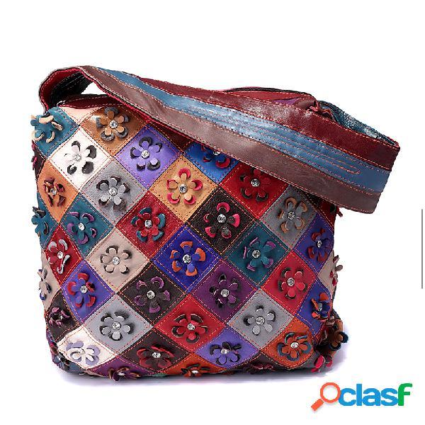 Mujer vendimia piel genuina bolsos floral ocio bolsa