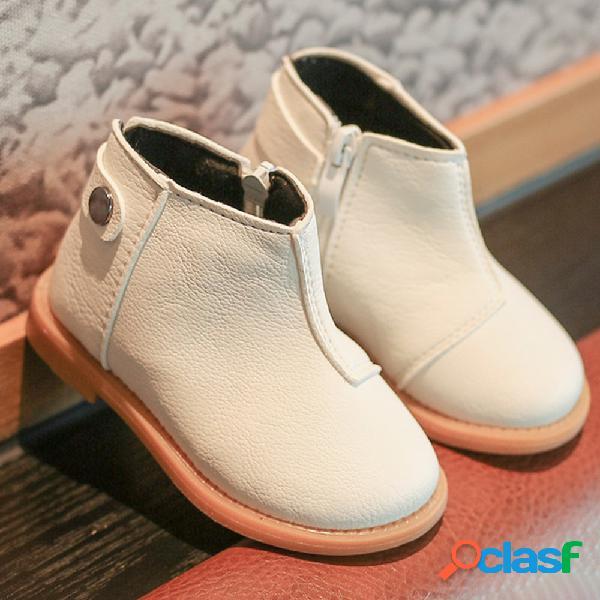 Unisex toddler side zipper punta redonda color sólido soft corto botas