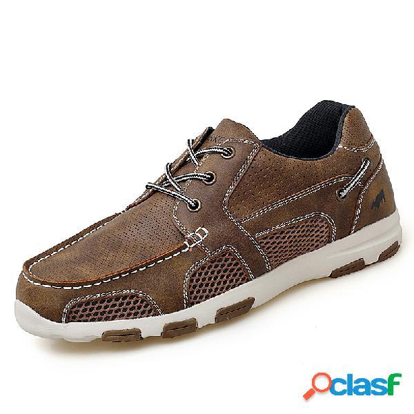 Hombres de microfibra de cuero de malla empalme soft suela zapatos casuales de agua