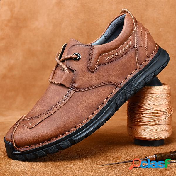 Hombres piel genuina antideslizante retro soft suela al aire libre zapatos casuales