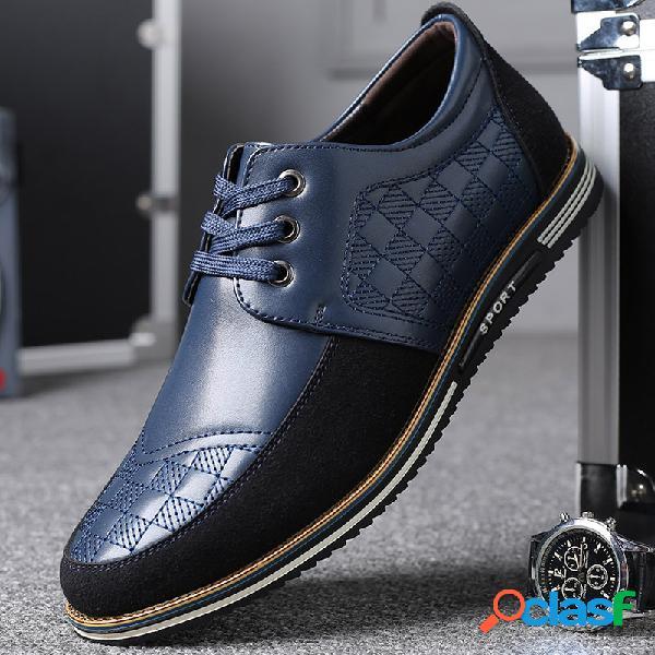 Hombres de microfibra de cuero empalme antideslizante soft zapatos casuales de negocios dirivng