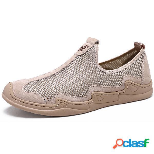 Zapatos sin cordones transpirables de malla para hombre soft al aire libre zapatos casuales