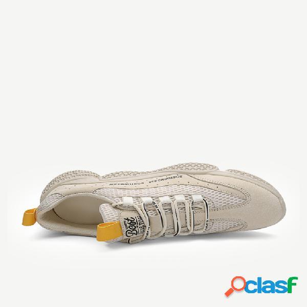 Calzado deportivo correr transpirable al aire libre zapatos de cuero para hombres zapatos de malla con cabeza redonda para hombres