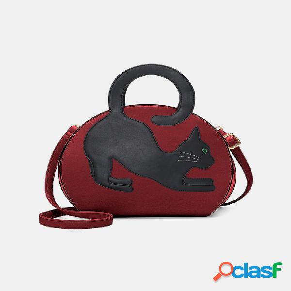 Mujer gato patrón bolso bandolera grande extensible bolsa