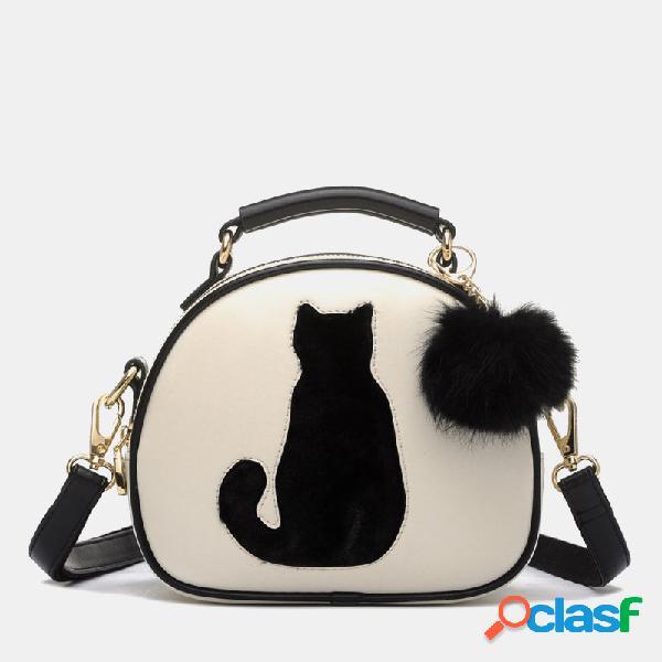 Mujer gato patrón bolso crossbody bolsa
