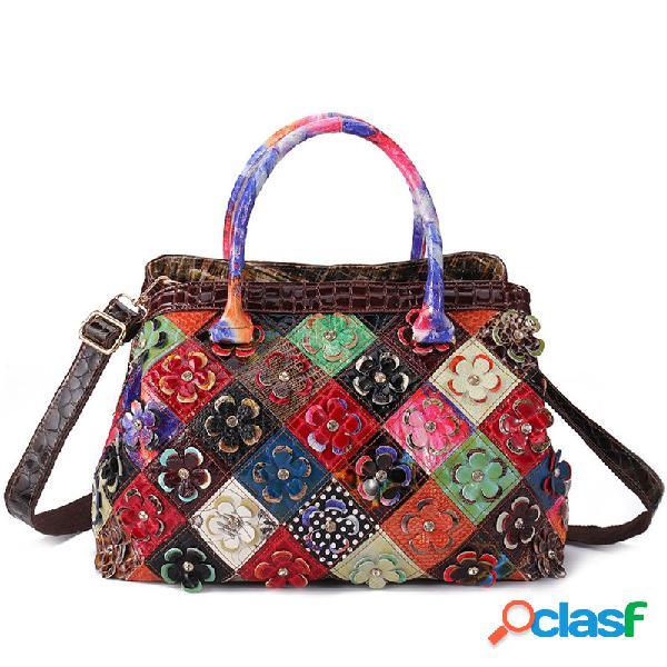 Mujer bohemio piel genuina bolsos florales de gran capacidad vendimia crossbody bolsa