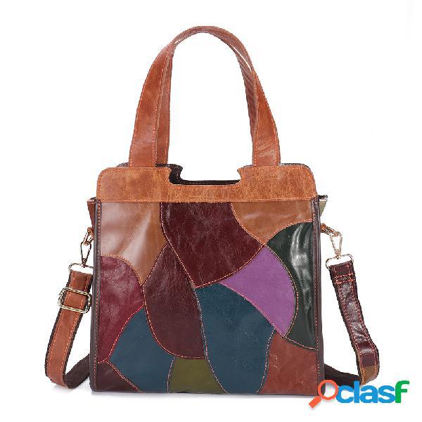 Mujer patchwork piel genuina tote bolsa bolsos de gran capacidad bohemian vendimia crossbody bolsa