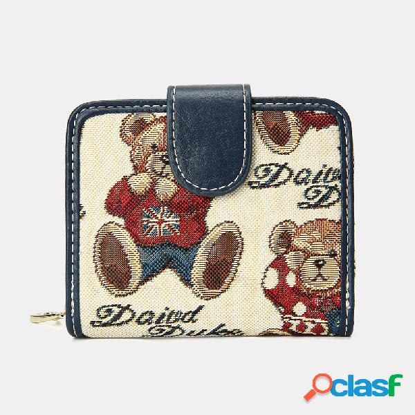 Mujer oso patrón monedero de 8 ranuras para tarjetas monedero corto