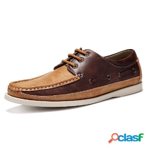 Menico bloqueo de color de punta redonda para hombre soft barco zapatos