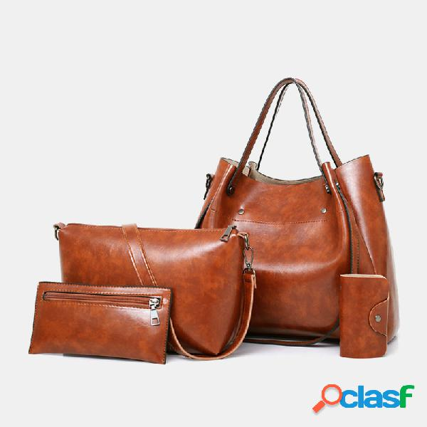 Mujer 4 piezas vendimia bolso crossbody bolsa hombro sólido bolsa