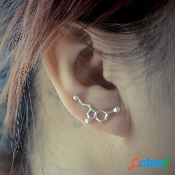 Moda química molecular oreja clip metal geométrico hueco irregular pendientes joyería elegante