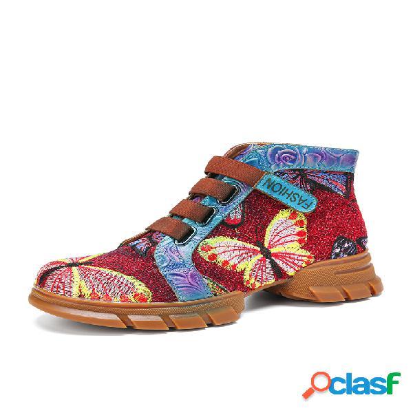 Socofy empalme bordado de mariposa en relieve piel genuina casual gancho corto tobillero plano con lazo botas