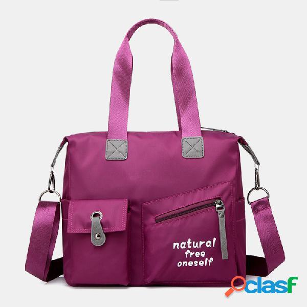 Mujer nylon impermeable bolsa bolso bandolera sólido crossbody bolsa