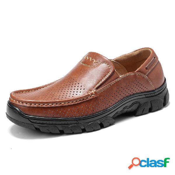 Menico hombres agujero microfibra cuero antideslizante soft al aire libre zapatos casuales
