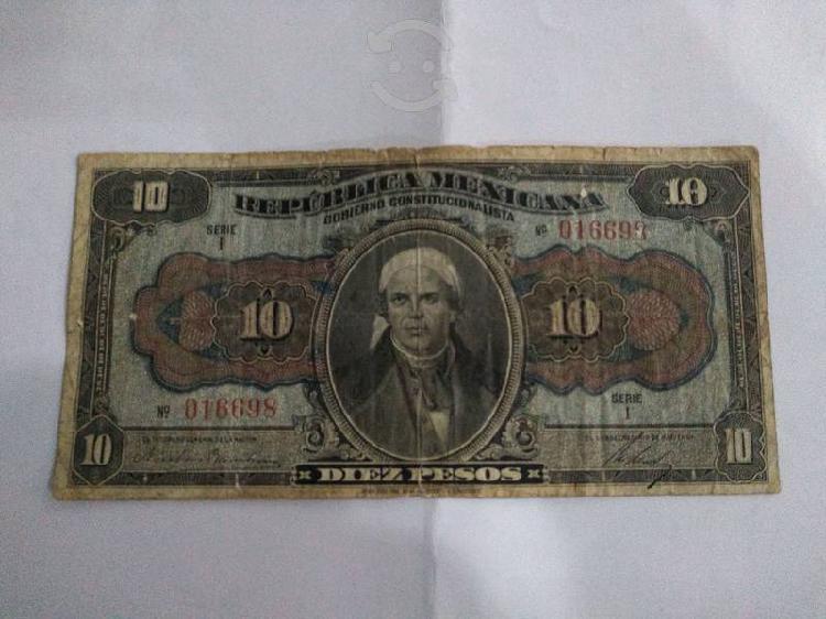 Billete antíguo de diez pesos del año 1915