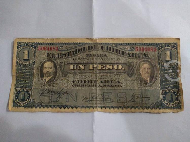 Billete antíguo de un peso del año 1914