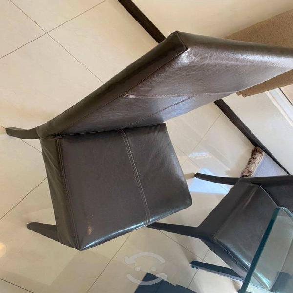 Comedor cafe oscuro elegante 8 sillas mesa vidrio