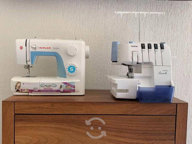 Pack maquina coser singer y overlock brother