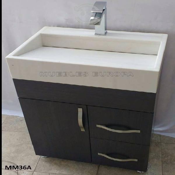 Mueble para baño con lavabo de marmol blanco
