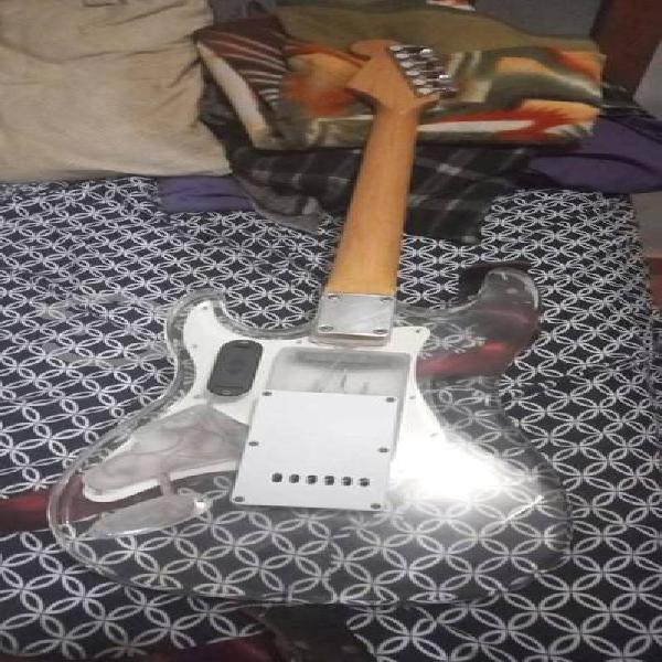 Guitarra eléctrica tipo stratocaster con luces led