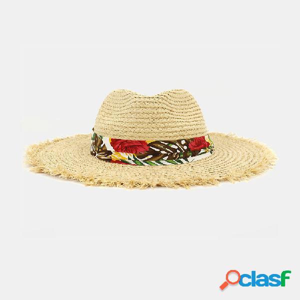 Mujer estampado patrón paja de rafia sombrero protector solar playa sombrero