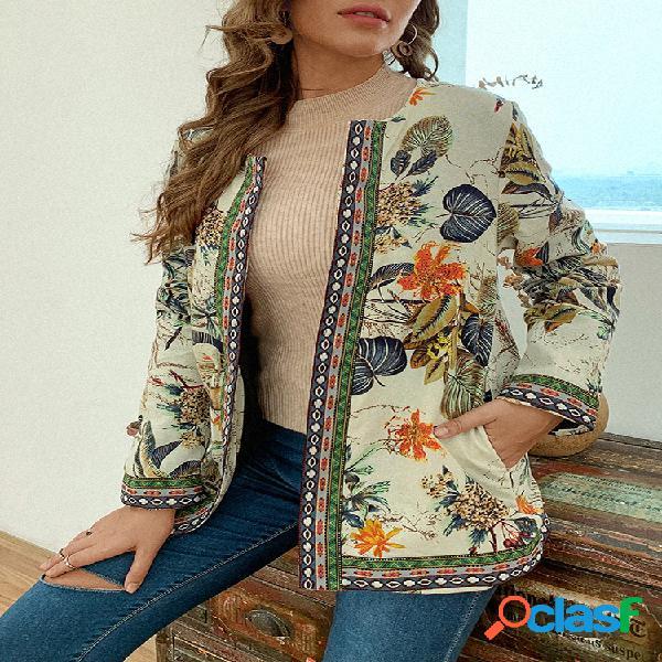 Vendimia patchwork de cinchas con estampado étnico plus tallas chaquetas