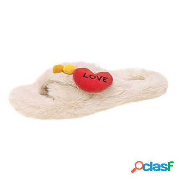 Mujer cute love corazón peluche cálido casual zapatillas