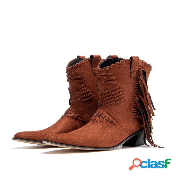 Plus talla mujer borla cremallera lateral tacón grueso mitad de la pantorrilla vaquero botas