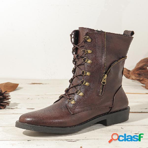 Cremallera lateral de color sólido de gran tamaño para mujer con cordones hasta la mitad de la pantorrilla botas