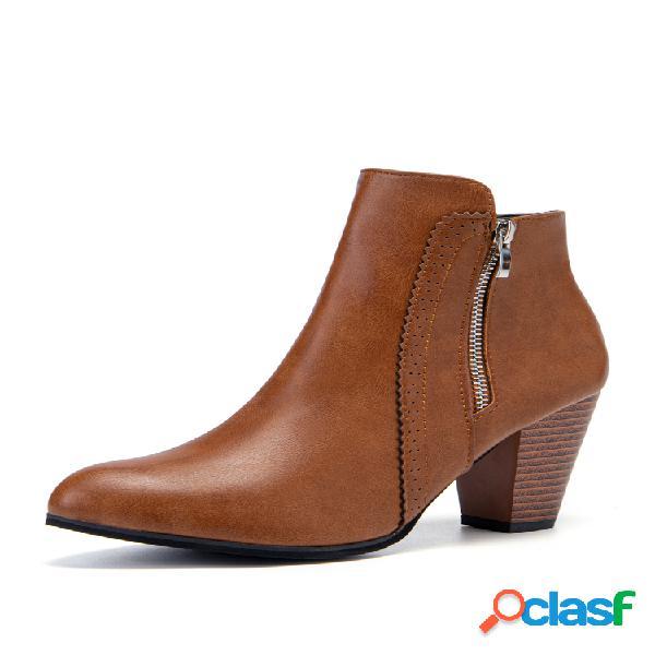 Plus talla mujer corto con cremallera lateral de tacón grueso en punta botas