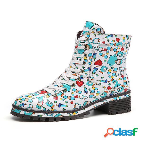 Socofy printing patrón cuero cómodo suela antideslizante corto con cordones cremallera lateral botas