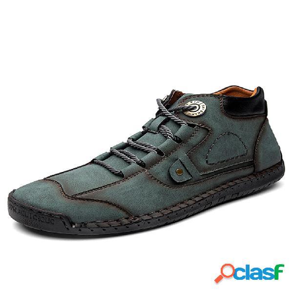 Menico hombres punta de goma de cuero cosido a mano antideslizante soft suela casual de negocios botas