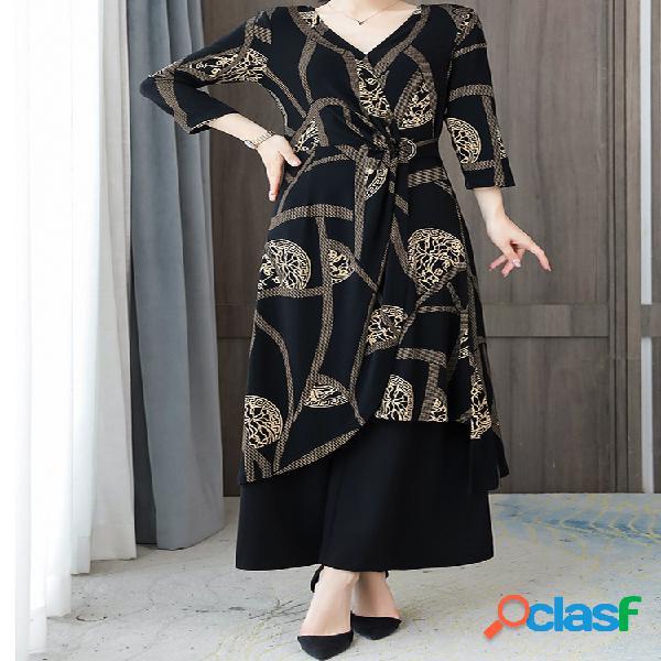 Mujer estampado vestido pernera ancha pantalones trajes de dos piezas