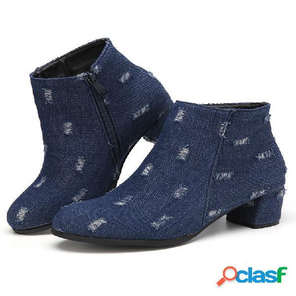 Talla grande mujer denim punta puntiaguda cremallera lateral forro cálido tacón grueso corto botas