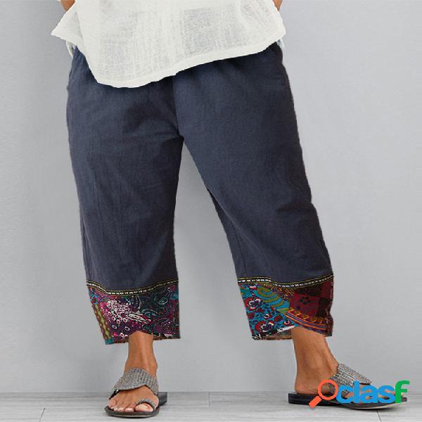 Vendimia estampado patchwork asimétrico plus talla pantalones