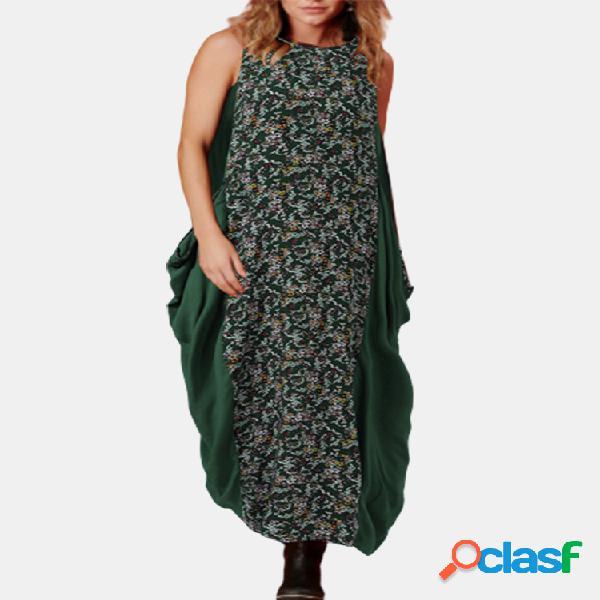 Vendimia patchwork estampado sin mangas plus talla vestido