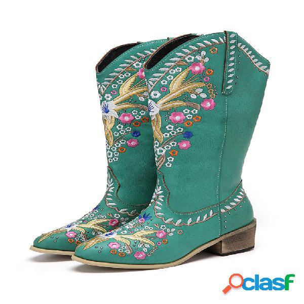 Mujer cuero retro estampado floral usable cómodo resbalón en tacón grueso vaquero a media pierna botas